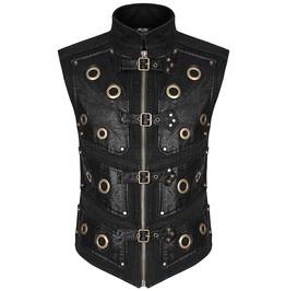Steampunk Men Vest Gothic Waistcoat Vest Black Faux Leather Gothic Dieselpu