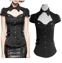 Steampunk Women Top Black Gothic Military Uniform Top Women Shirt