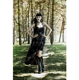 Women New Black Gothic Burlesque Victorian Altaira Long Maxi Dress