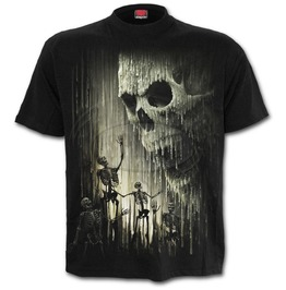 Men New Black Waxed Skull Undead T Shirt