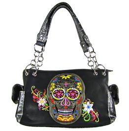 Black Skull With Flower Background Look Shoulder Handbag