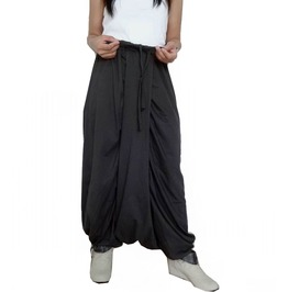 Gray Drop Crotch Harem Pants,Asymmetrical In Cotton Jersey Pants Pg46