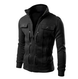 Stand collar slim fit pleated pocket design zippered jacket men jackets