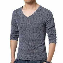 Checkered Pattern V Neck Slim Fit Long Sleeve T Shirt Men