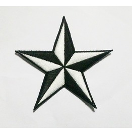 Black And White Star Embroidered Iron On Patch.