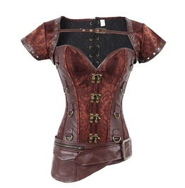 Steampunk Retro Corset Lumbar Seal Body Sexy Vest With Jacket