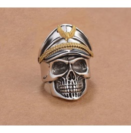 Stainless Steel Captain Skull Men Ring