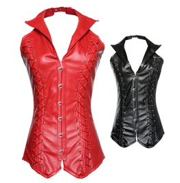 Vintage Charm Corset Body Vest, Sexy Women Punk Leather Hanging Corset