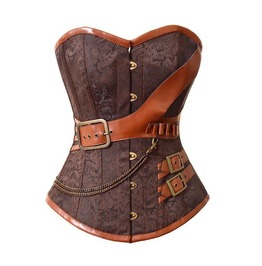 Vintage Steampunk Corset Body Vest, Women's Gothic Leather Cloth Corset