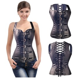 Punk Charms Women Body Costumes Corset ,Sexy Lady Leather Buckle Party Vest