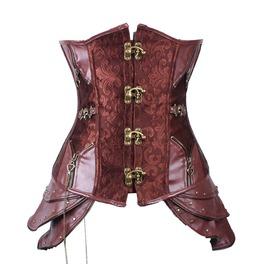 Vintage Women Corset Gothic Vest ,Steampunk Wedding Buckle Chest With Chain