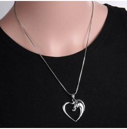 Horse Head Heart Pendant Love Necklace Bz016