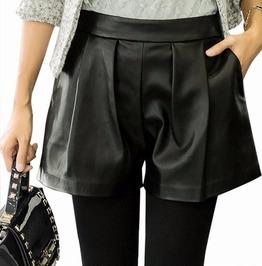 Women Casual Leather Short Pants Plus Size