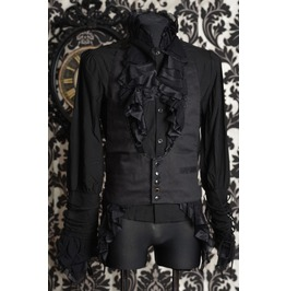 Mens Black Victorian Gothic Vest Adjustable Waistcoat $6 Cheap Shipping