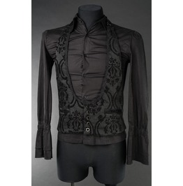 Mens Black Brocade Victorian Gothic Steampunk Vest Waistcoat Cheap Shipping