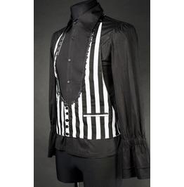 Mens Black White Striped Victorian Gothic Vest Waistcoat $6 Cheap Shipping