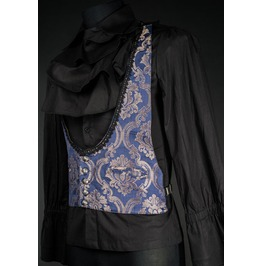 Mens Blue Silver Brocade Victorian Gothic Vest Waistcoat Cheap Shipping