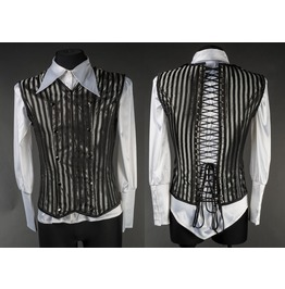 Mens Black Silver Striped Victorian Goth Vest Lace Up Corset Back Free Ship