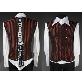 Mens Red Black Striped Victorian Gothic Vest Lace Up Corset Back $6 To Ship