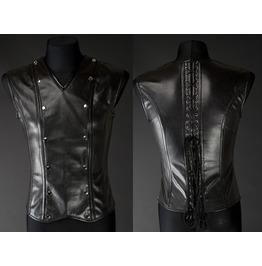 Mens Black Faux Leather Gothic Fetish Vest Lace Up Corset Back $6 To Ship