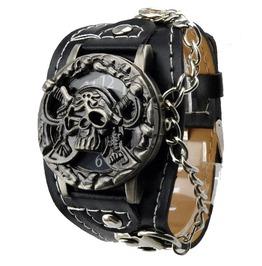Punk Pirate Skull Head Pu Leather Band Flip Wrist Watch