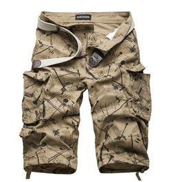 Camouflage Street Print Multi Pocket Cotton Cargo Shorts