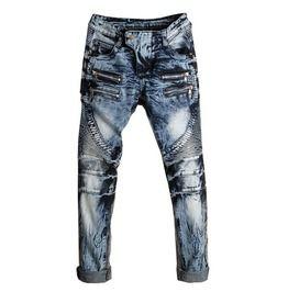 427c55f1 Washed Black Blue Ripped Biker Motorcycle Slim Fit Denim Jeans
