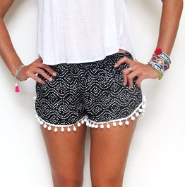 Ladies Sexy Casual Floral Print High Waist Mini Shorts