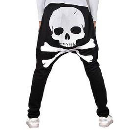 Drawstring Waist Black Skull Print Harem Pants
