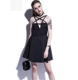 Gothic Sleeveless Pentagram Short Dress