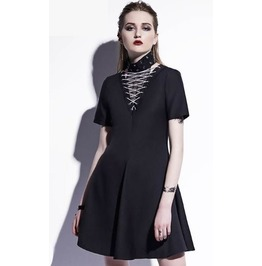 Gothic Mesh Lace Up Short Sleeves Short Dress