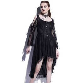 Gothic Asymmetric Lace Flower Long Sleeves Short Dress