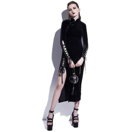 Gothic Slit Side Lace Up Long Sleeves Midi Dress