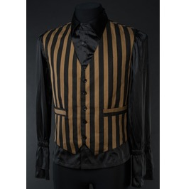 Mens Black Brown Striped Steampunk Victorian Gothic Vest $6 Cheap Shipping