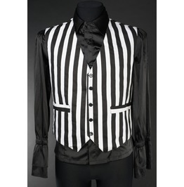 Mens Black White Striped Victorian Gothic Vest Waistcoat Free Shipping