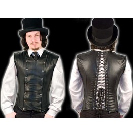Mens Black Leather Gothic Fetish Vest Lace Up Corset Back Vest Free To Ship