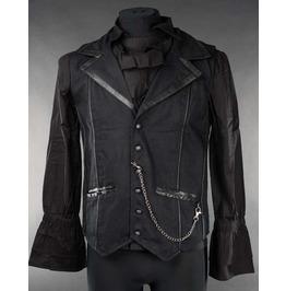 Mens Black Victorian Gothic Vest Vampire Lapel W Chain Waistcoat Free Ship