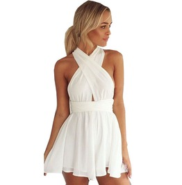Sexy Cross Chiffon High Waist Festival Jumpsuit Romper Women