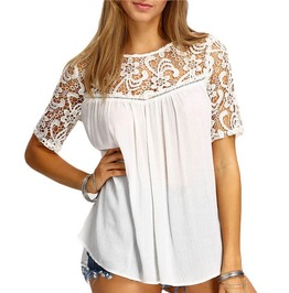 Women Lace Hollow Out Splice Shirt Casual Sleeve Top