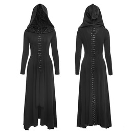 Women Dark Arts Gothic Fashion Dress Long Black Hooded Women Witch Cloak