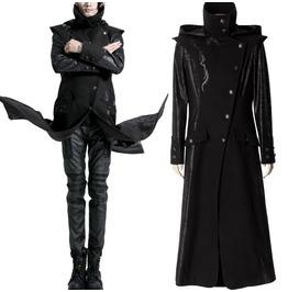 Men Steampunk Vampire Heavy Metal Jacket Gothic Men Long Coat