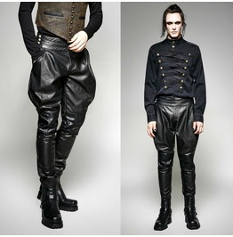 Men Steampunk Pnats Military Style Gothic Men Leather Pants Trouser