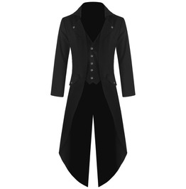 Mens Gothic Steampunk Tailcoat Jacket Black Gothic Halloween Victorian Coat