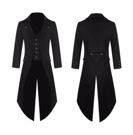 Mens Gothic Steampunk Tailcoat Jacket Black Gothic Victorian Coat