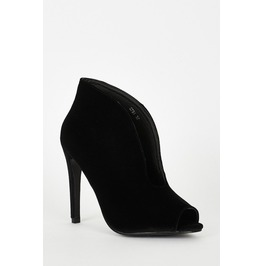Velvet Deep V Front Peep Toe Shoes