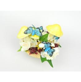 Fascinator Headpiece Feathered Butterflies, Mushrooms, Raspberries, Flowers