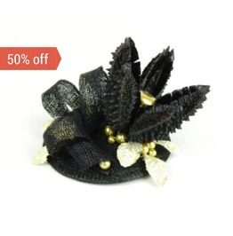 Sale! Fascinator Headpiece With Star Flower, Feathery Foliage And Beads