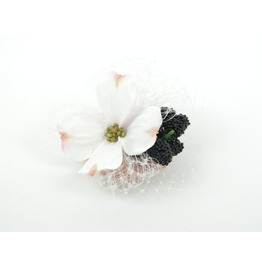 Fascinator Headpiece Hair Clip Silk Flower, Blackberries And Veil