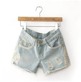 Light Blue Sexy Jeans Short Pants Lace