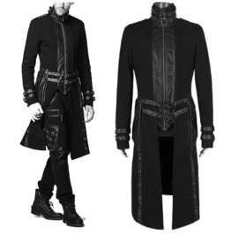 Men Steampunk Coat High Collar Korean Style Slim Fit Long Gothic Coat Jacke